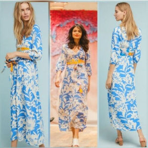 Maeve Anthropologie L 10 12 Blue Floral Maxi dress